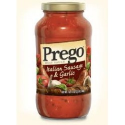 Prego Italian Pasta Sauce 23.5 oz Jar,Italian Sausage & Garlic
