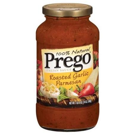 Prego Italian Pasta Sauce 23.5 oz Jar, Roasted Garlic Parmesan)