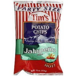 Tim's Potato Chips, Cascade Style, Jalapeno Seasoned, Party Size, 16oz Bag
