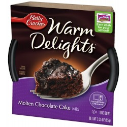 Betty Crocker Warm Delights, Molten Chocolate Cake, 3.35-Ounce Bowls