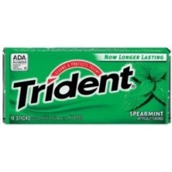 Trident Spearmint Sugar Free Gum  3 Packs of 18 Pieces