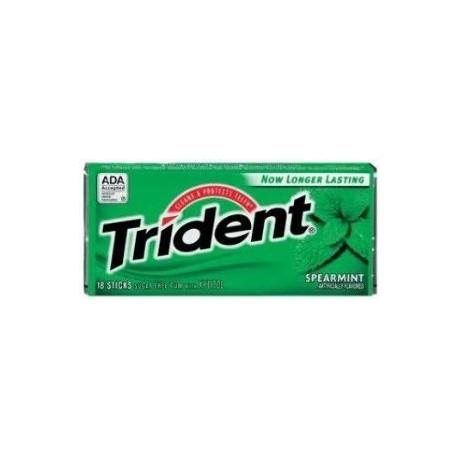 Trident Spearmint Sugar Free Gum  3 Packs of 18 Pieces