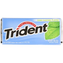 Trident Sugar Free Gum with Xylitol, Mint Bliss, 3 X 18 Count