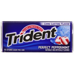 Trident Sugar Free Gum with Xylitol, Perfect Peppermint, 3 x 18 Piece