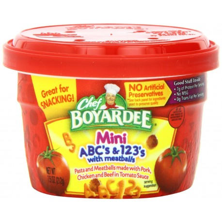 Chef Boyardee ABC & 123 Pasta Shapes with Mini Meatballs in Tomato Sauce, 7.5-Ounce Microwavable Bowls