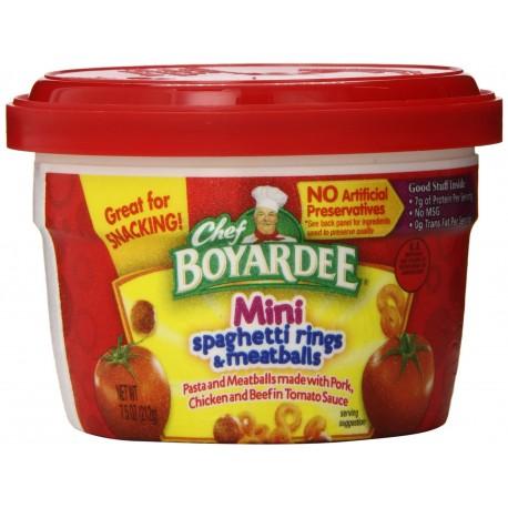 Chef Boyardee Mini-Bites Spaghetti Rings with Meatballs, 7.5-Ounce Microwavable Bowls