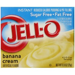 Jell-O Sugar-Free Instant Pudding and Pie Filling, Banana Cream, 0.9-Ounce Boxes