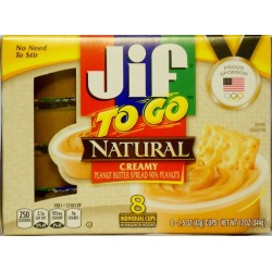 Jif to Go Natural Creamy Peanut Butter 8 Individual Cups