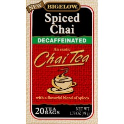 Bigelow Decaf Spiced Chai Tea Bags, 20 ct (Pack of 2)