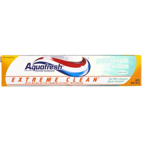 Aquafresh Extreme Clean Pure Breath Action Fluoride Toothpaste, Mint 5.6 oz