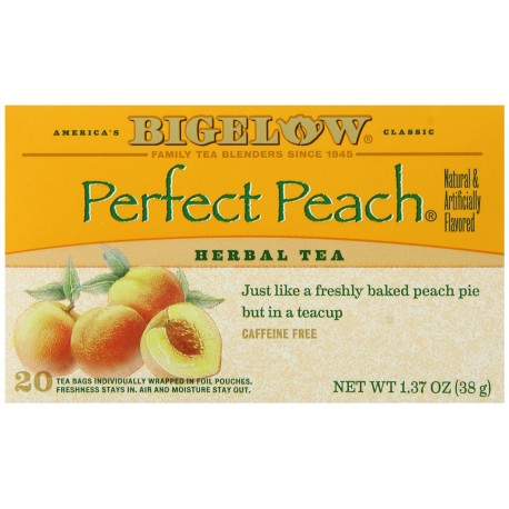 Bigelow Perfect Peach Herbal Tea, 20-Count Boxes (Pack of 3)
