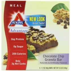 Atkins Advantage Granola Bars, Chocolate Chip, 5/1.7 Ounce