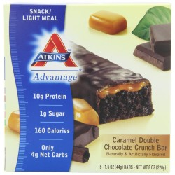 Atkins Advantage Caramel Bars, Double Chocolate Crunch, 5-Count, 1.6-Ounce Bars