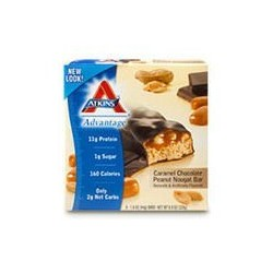 Atkins Advantage Caramel Bars, Chocolate Peanut Nougat 5 X 1.6 Ounce