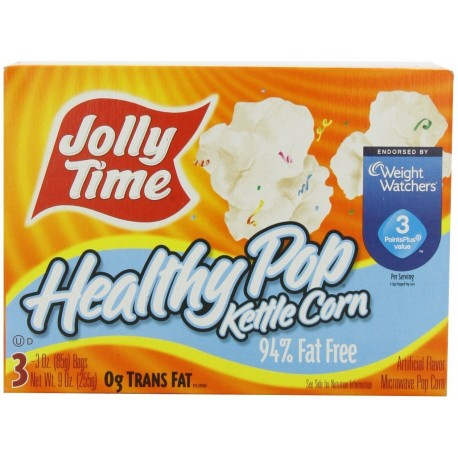 Jolly Time, Healthy Pop Kettle Corn, 94% Fat Free Microwave Popcorn, 3-Count Box