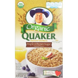 Quaker Instant Oatmeal Organic Maple & Brown Sugar, 8-Count Boxes